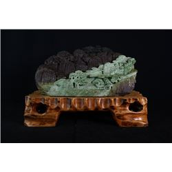 Grade A Jadeite, mountain and figures large decorationbaoshi diao