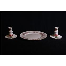 England Bone China 2 candlesticks + 1 tableware.