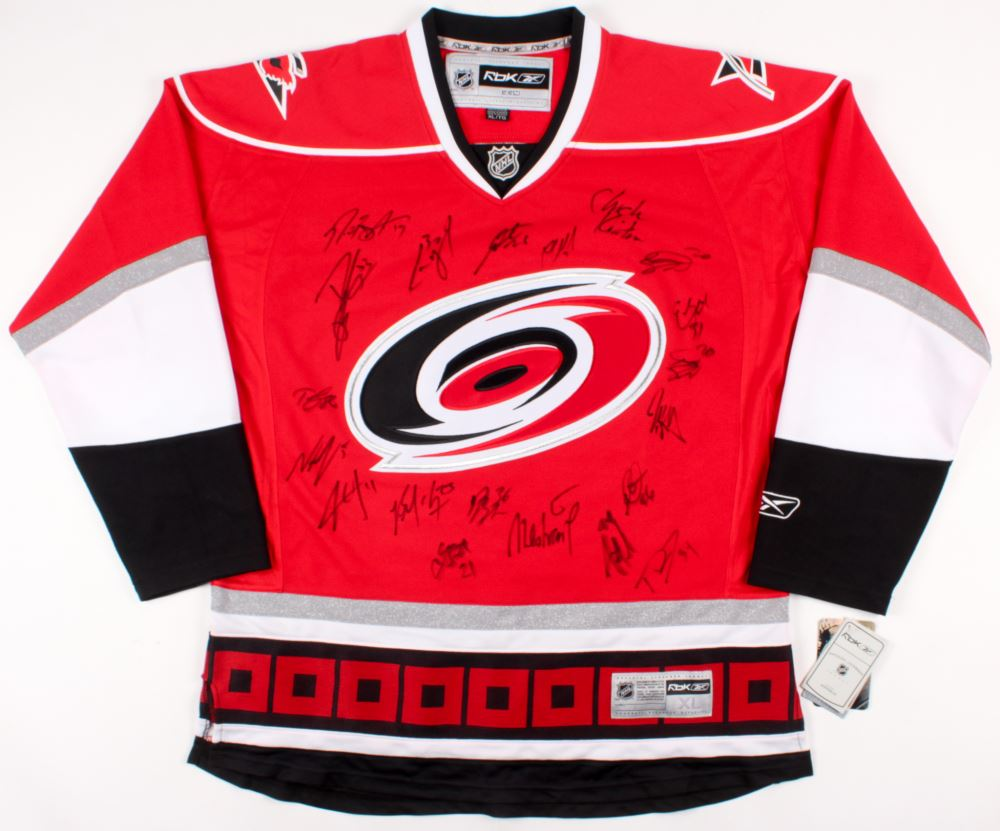 best website 07f80 1f5a2 Carolina Hurricanes Jersey Signed by (21) with Cam Ward ...