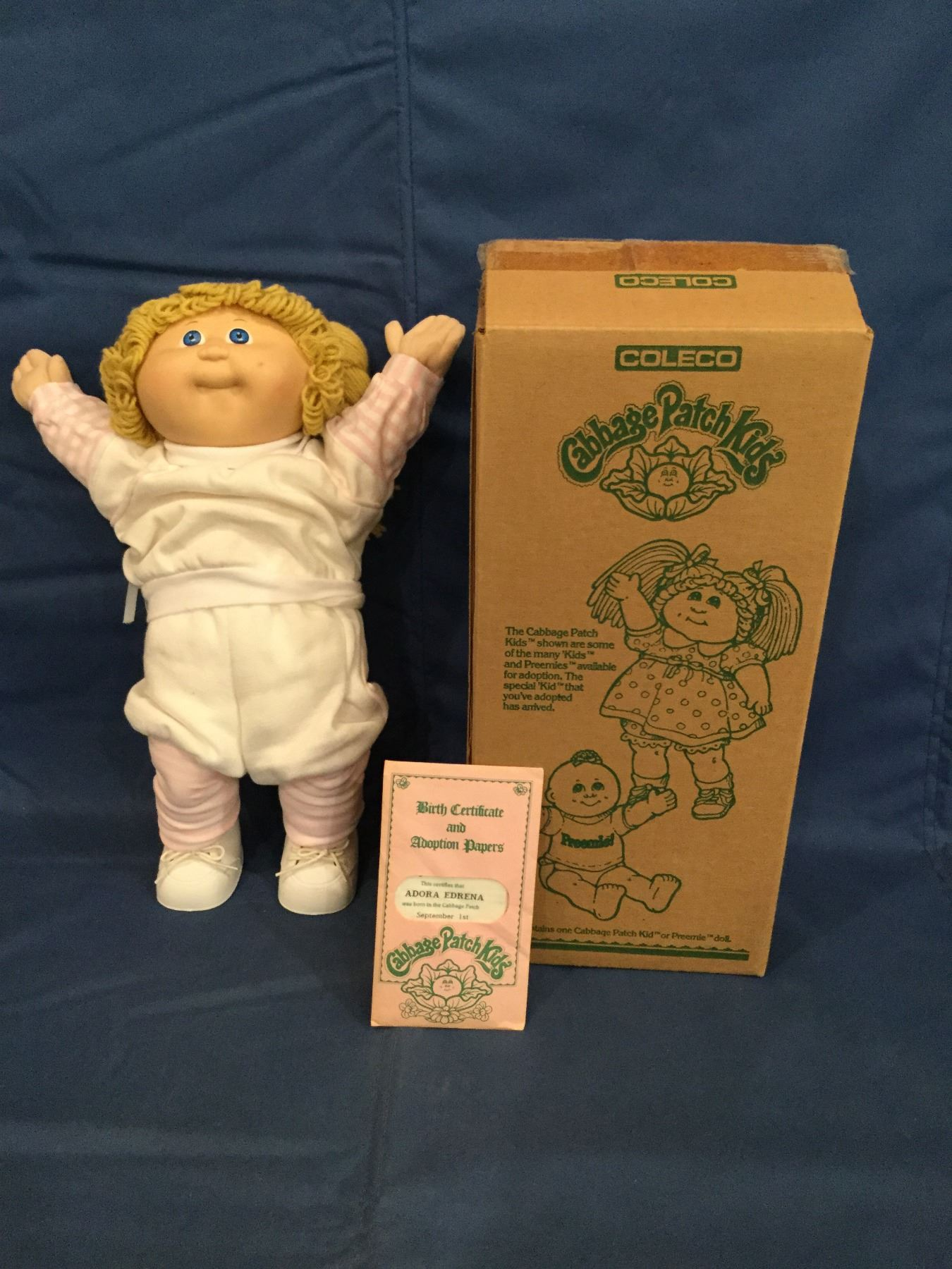 Cabbage Patch Kids box with doll and a certificate Adora