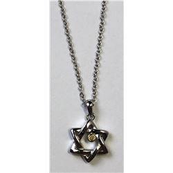 STERLING SILVER STAR OF DAVID DIAMOND NECKLACE