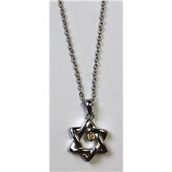 STERLING SILVER STAR OF DAVID DIAMOND NECKLACE