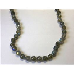 STERLING SILVER LARGE LABRADORITE PEARL NECKLACE