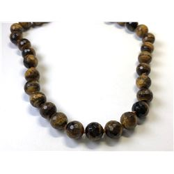 STERLING SILVER LARGE TIGEREYE PEARLED NECKLACE