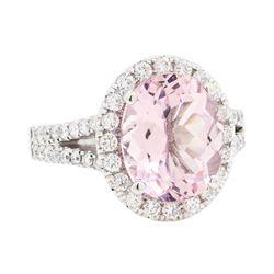 14KT White Gold 3.62 ctw Morganite and Diamond Ring