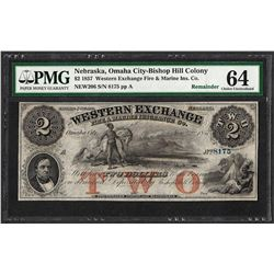 1857 $2 Western Exchange Fire & Marine Insurance Co. Note PMG Choice Uncirculate