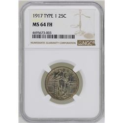 1917 Type 1 Standing Liberty Quarter Coin NGC MS64FH