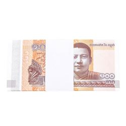 Pack of (100) Consecutive Cambodia 100 Riels Uncirculated Notes