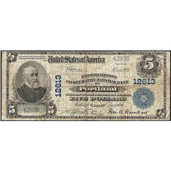 1902 $5 National Currency Note Brotherhood Co-Operative NB of Portland CH# 12613