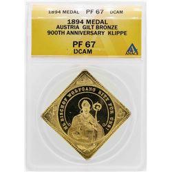 1894 Austria 900th Anniversary Klippe Gilt Bronze Medal ANACS PF67 DCAM