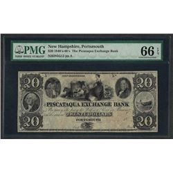 1840's-60's $20 The Picataqua Exchange Bank Obsolete Note PMG Gem Uncirculated 6