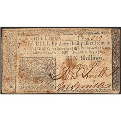 December 31, 1763 Six Shillings New Jersey Colonial Currency Note