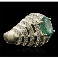 14KT Yellow Gold 2.03 ctw Emerald and Diamond Ring