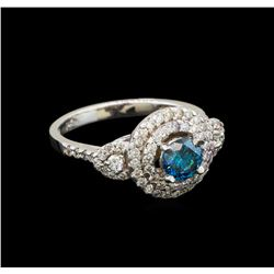 14KT White Gold 0.98 ctw Blue Diamond Ring
