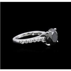 4.02 ctw Black Diamond Ring - 14KT White Gold