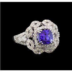 14KT White Gold 1.37 ctw Tanzanite and Diamond Ring