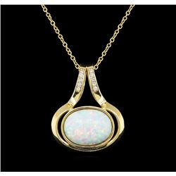 Opal and Diamond Pendant With Chain - 14KT Yellow Gold