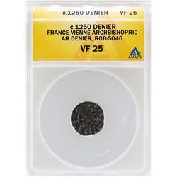 c.1250 France Denier Vienne Archbishopric Coin ANACS VF25