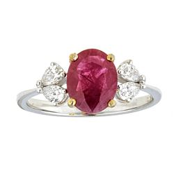 1.76 ctw Ruby and Diamond Ring - 18KT White and Yellow Gold