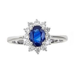 0.84 ctw Sapphire and Diamond Ring - 18KT White Gold