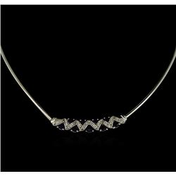 2.70 ctw Sapphire and Diamond Necklace - 14KT White Gold