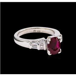 1.23 ctw Ruby and Diamond Ring - Platinum
