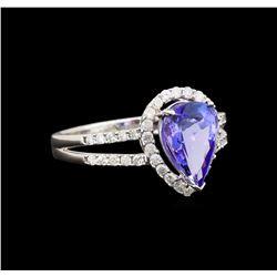 14KT White Gold 2.51 ctw Tanzanite and Diamond Ring