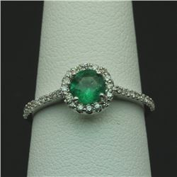 0.57 ctw Emerald and Diamond Ring - 14KT White Gold