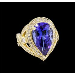 14KT Yellow Gold 7.74 ctw GIA Cert Tanzanite and Diamond Ring