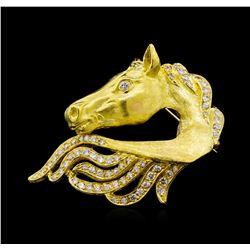 1.87 ctw Diamond Horse Pin - 18KT Yellow Gold
