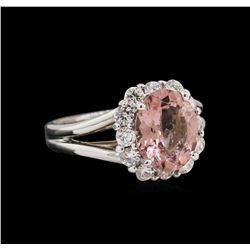2.48 ctw Pink Tourmaline and Diamond Ring - 14KT White Gold