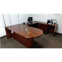 5 Pc Heavy Wooden Executives Desk Set