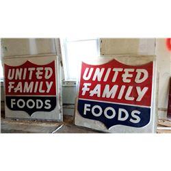 VINTAGE UNITED FOODS SIGNS