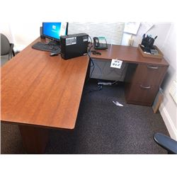 2 Pc Desk w/ 2 Filing Cabinet Drawers