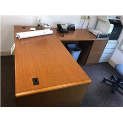 2 Pc HON Office Desk w/ 2 File Cabinets
