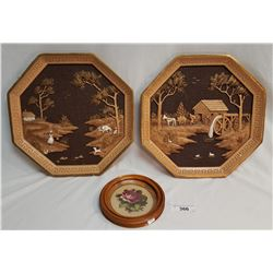 2 Ceramic Octagon Cast Wall Plaques & Floral Petit Point in Wooden Frame