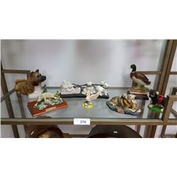 6 Resin Animal Figures: 2 Ducks, 2 Dogs, 1 Platypus, 1 Duck & Eskimo Sled Pulled by 4 Dogs, Slate Ba