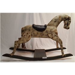 NO SHIPPING. Victorian Rocking Horse w/ Leather Saddle, Original Paint Dapple, Grey & Green Painted