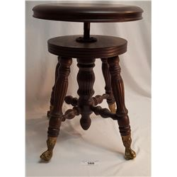 NO SHIPPING. Very Nice Antique Piano Stool Cast Brass & Glass Foot, Fluted Legs Adjustable Height