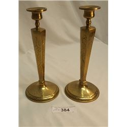 Pair of Chinese Brass Candlesticks