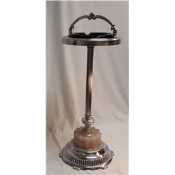 Chrome & Glass 1950's Ashtray Stand w/ Handle
