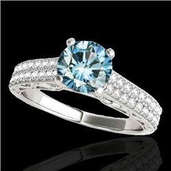 1.41 CTW Si Certified Blue Diamond Solitaire Antique Ring 10K White Gold - REF-176W4F - 34698