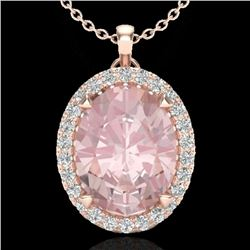 2.75 CTW Morganite & Micro VS/SI Diamond Halo Solitaire Necklace 14K Rose Gold - REF-69T3M - 20592
