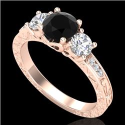 1.41 CTW Fancy Black Diamond Solitaire Art Deco 3 Stone Ring 18K Rose Gold - REF-138H2A - 37759