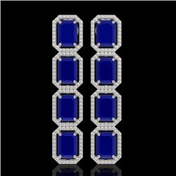 20.59 CTW Sapphire & Diamond Halo Earrings 10K White Gold - REF-213X8T - 41576