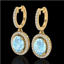 3.25 CTW Aquamarine & Micro Pave VS/SI Diamond Earrings Halo 18K Yellow Gold - REF-111K3W - 20312
