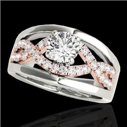 1.55 CTW H-SI/I Certified Diamond Solitaire Ring 10K White & Rose Gold - REF-227F3N - 35293