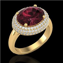 4.50 CTW Garnet & Micro Pave VS/SI Diamond Ring 18K Yellow Gold - REF-98X4T - 20917