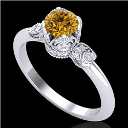 1 CTW Intense Fancy Yellow Diamond Engagement Art Deco Ring 18K White Gold - REF-127K3W - 37399