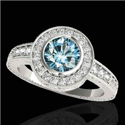 1.50 CTW Si Certified Fancy Blue Diamond Solitaire Halo Ring 10K White Gold - REF-170X9T - 33896